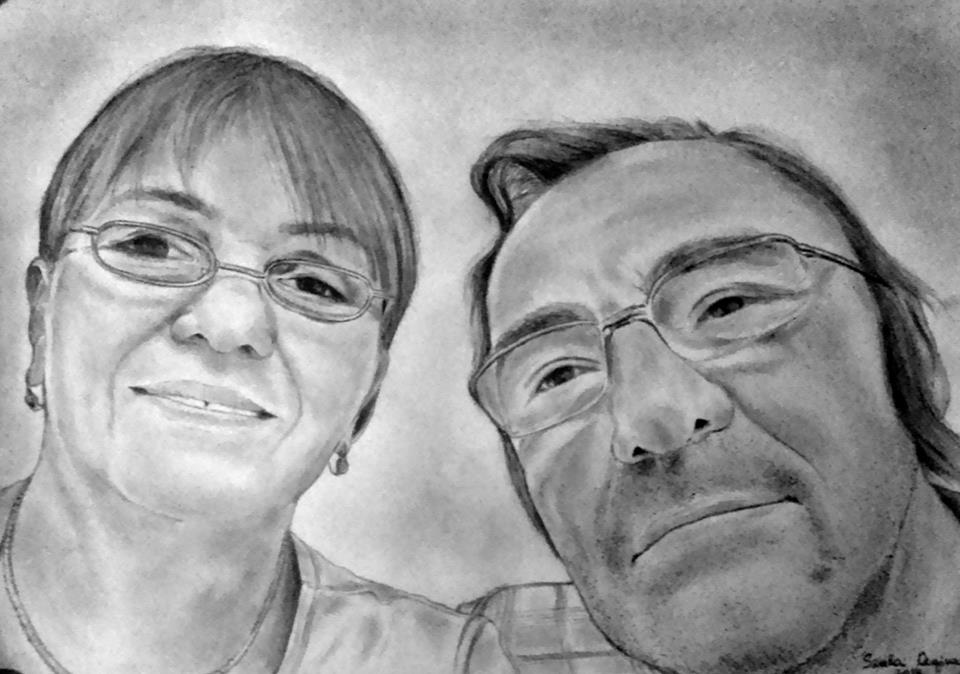 grafika, nő és férfi portré