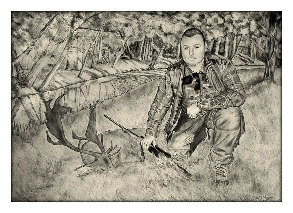 grafika, vadász portré