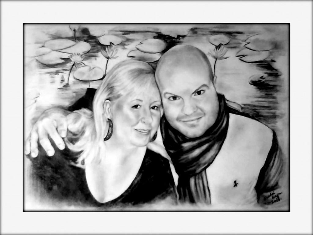 grafika, házaspár portré