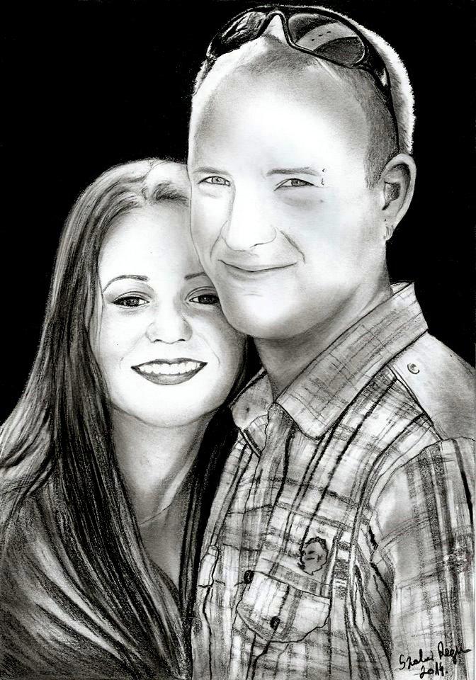 grafika, portré fiatal pár