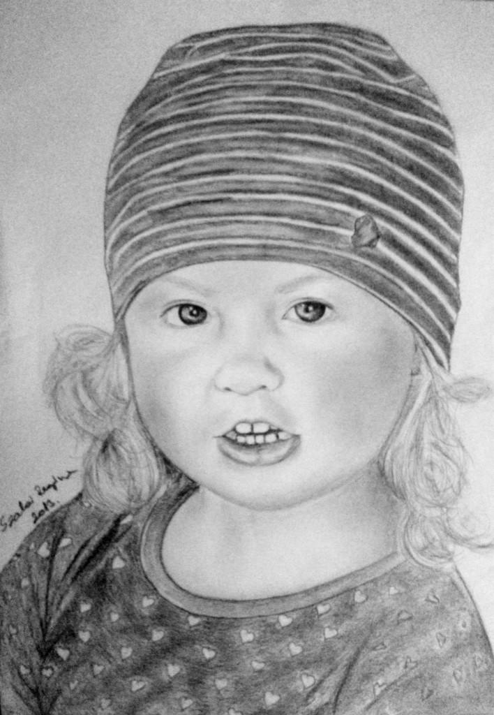grafika, kislány portré