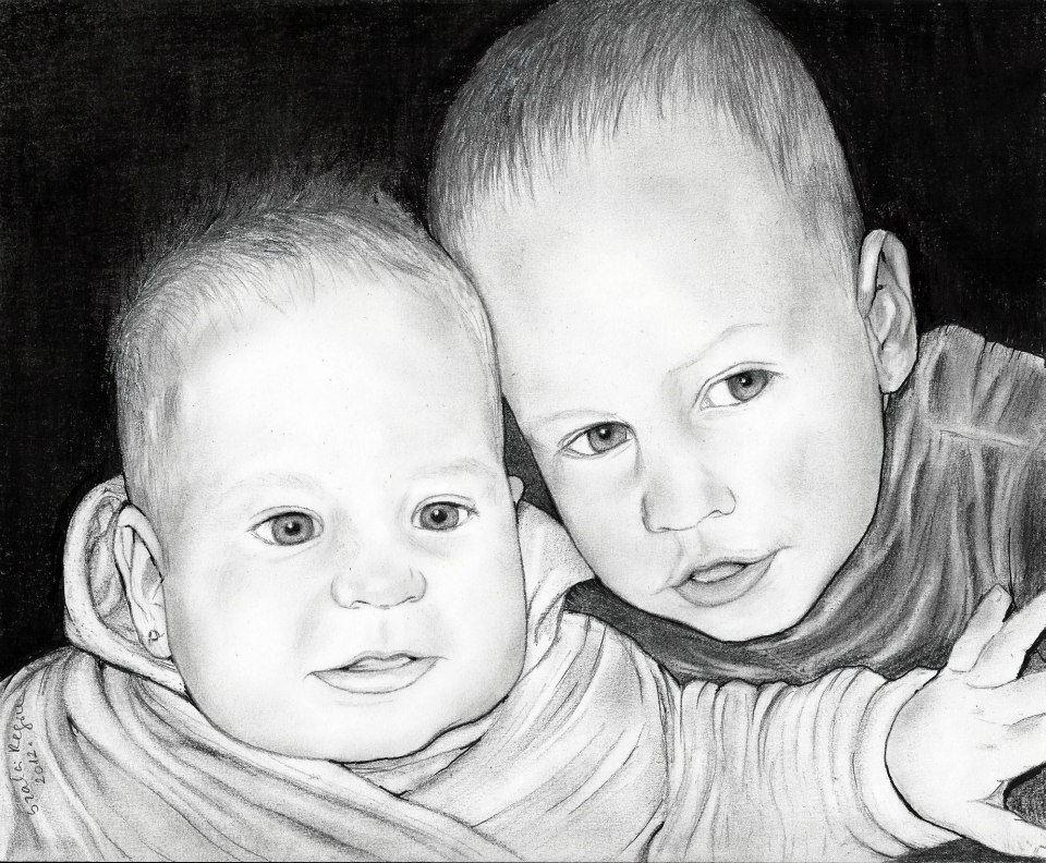 grafika, kisgyermekek portré