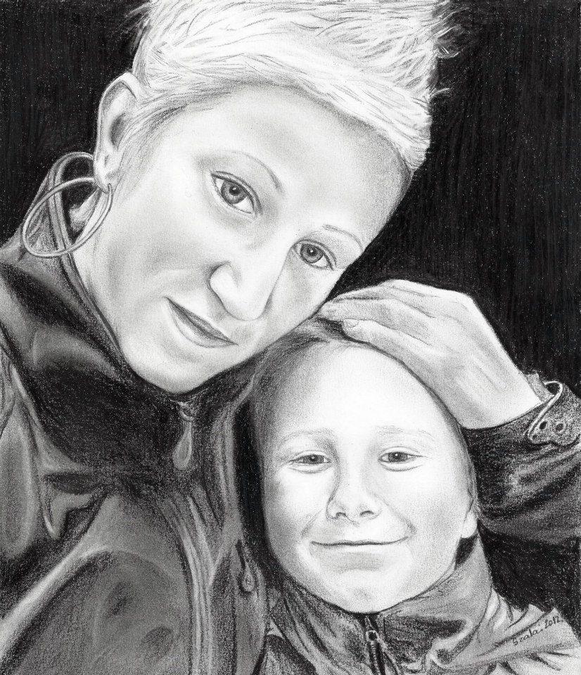 grafika, anya és fia portré