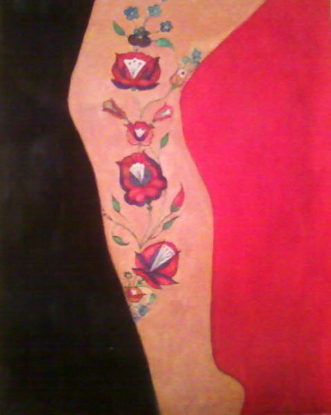 festmény - mintás női láb