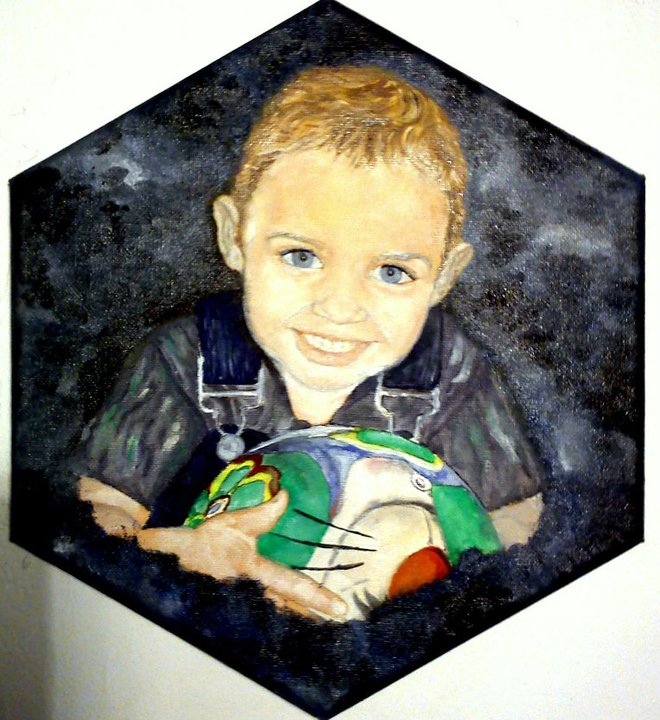 Színes portré a kis fiamról, olaj