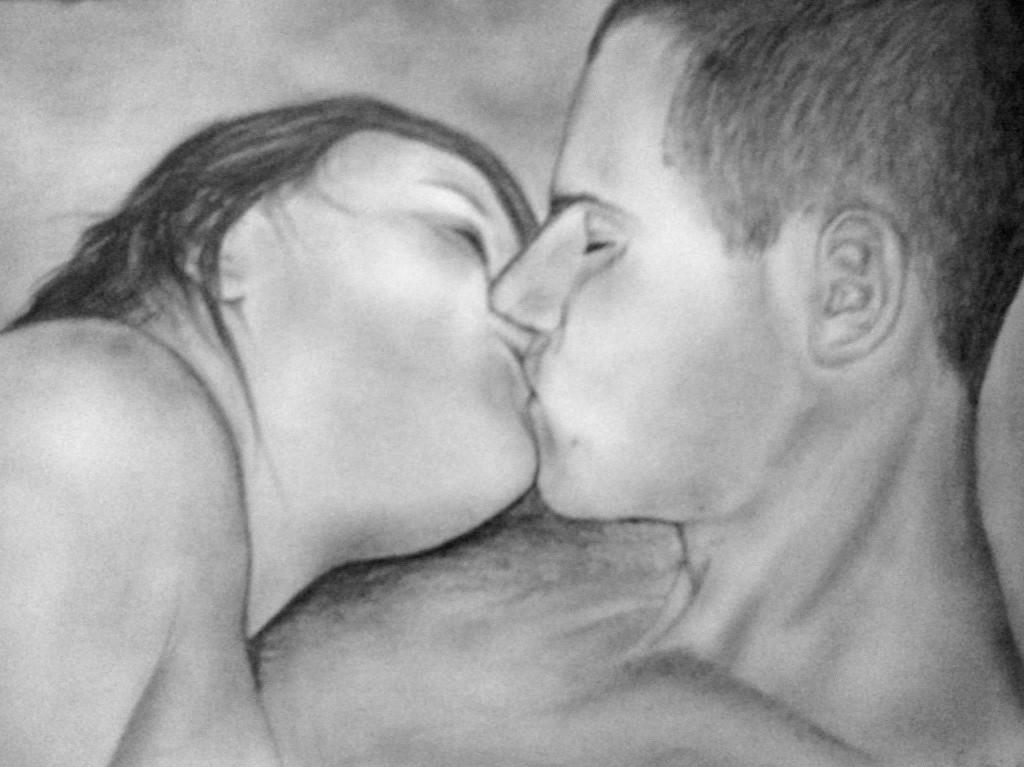 grafika, szerelmes portré