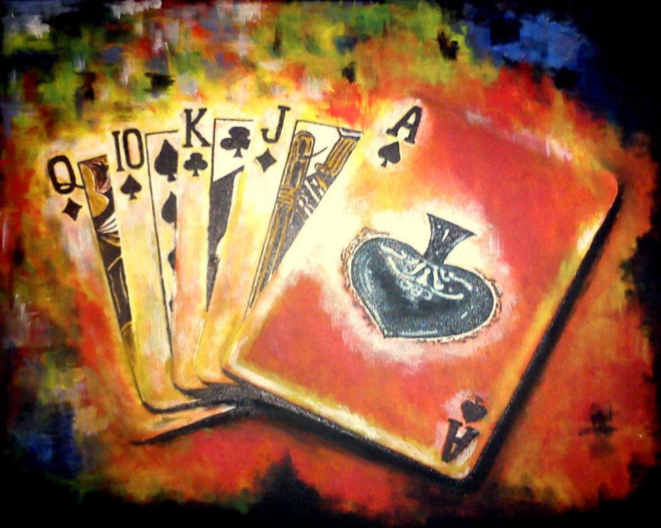 kártyás festmény