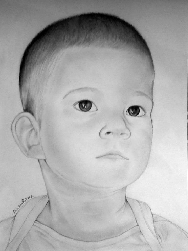 grafika, kisfiú portré
