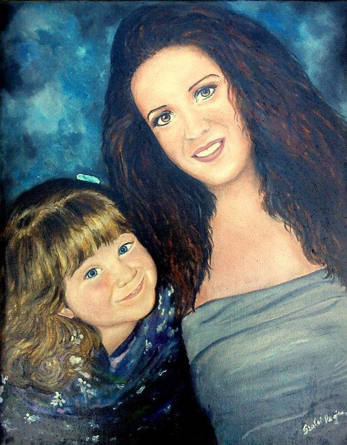 Színes portré, anya és lánya, olaj