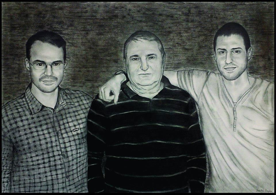 grafika, apa és fiai portré