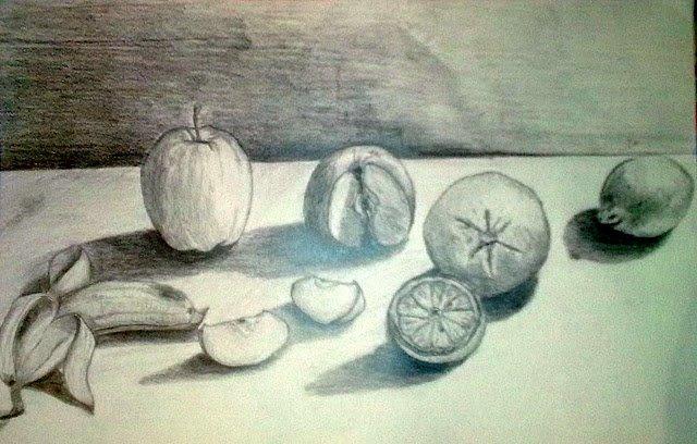 Tanulmányrajz: Gyümölcs csendélet