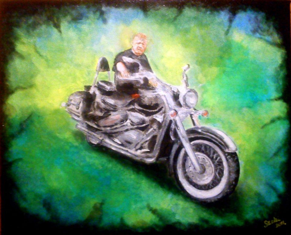 Motoros festmény