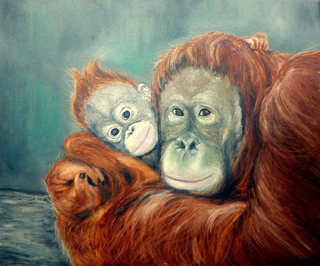 olaj festmény majmokról