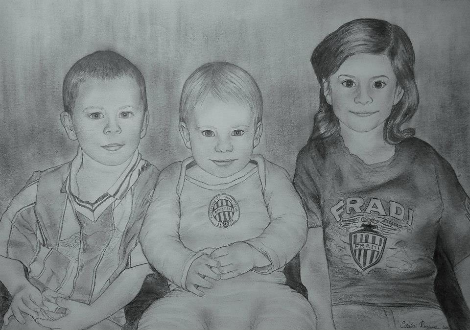 grafika, portré gyerekekről