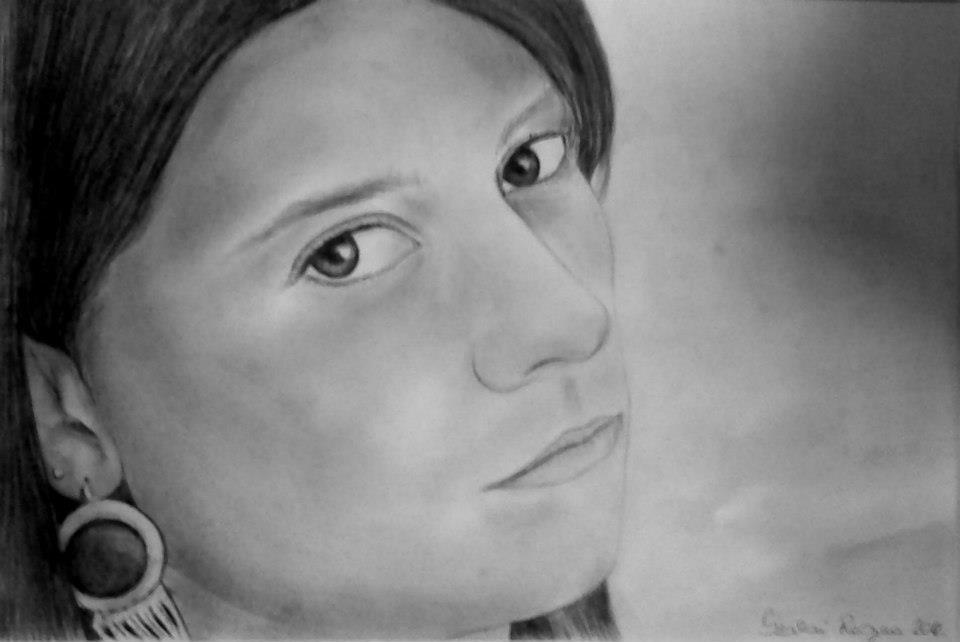 grafika, fiatal nő portré