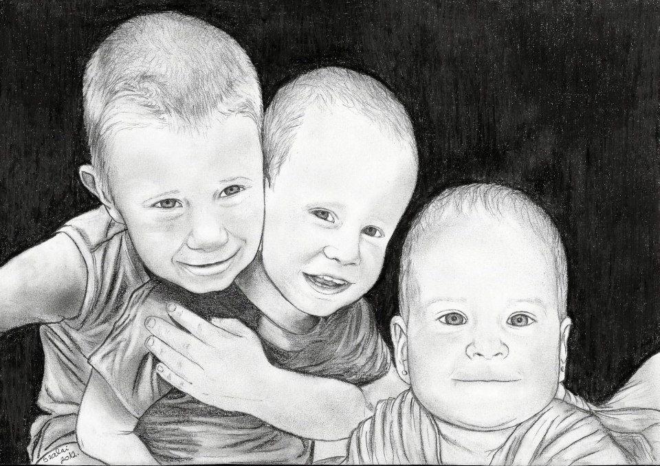 grafika, gyerekcsoport portré