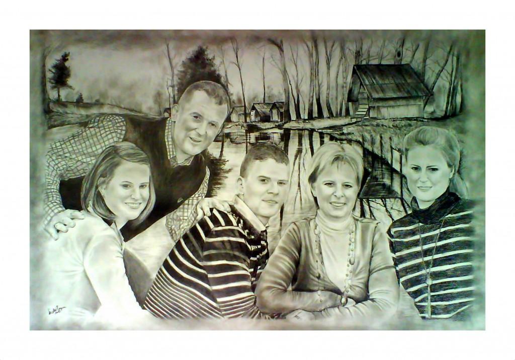 grafika, családi portré