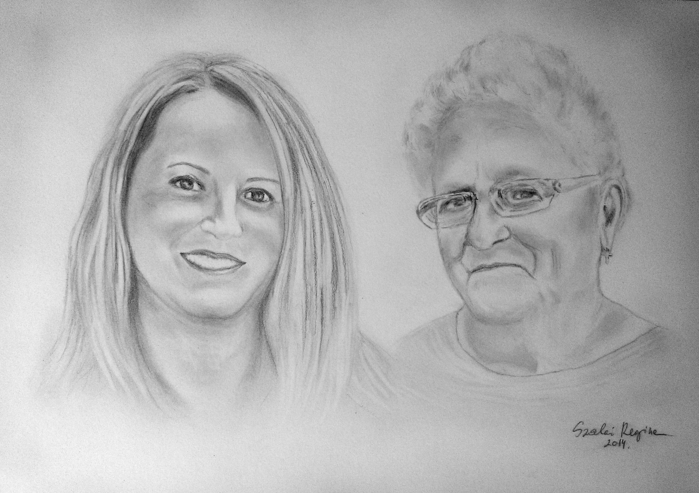 grafika, portré anya és lánya