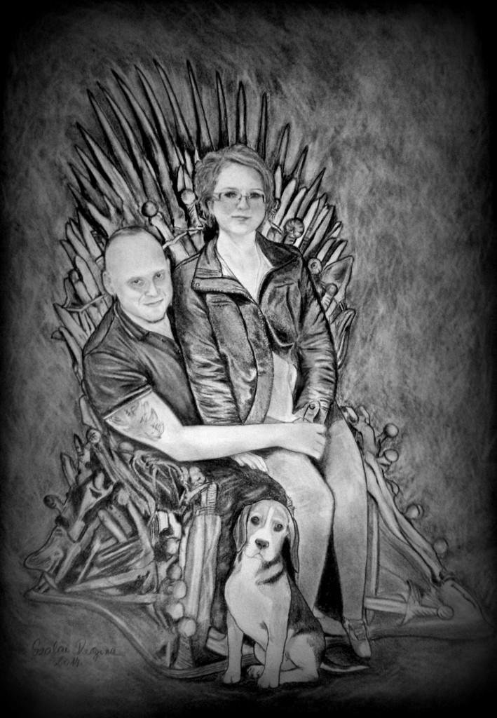 grafika, portré házaspár kutyával
